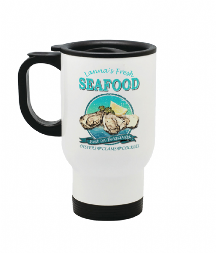 Lanna's Fresh Seafood - Oysters, Clams & Cockles - Steel Thermo Travel Mug